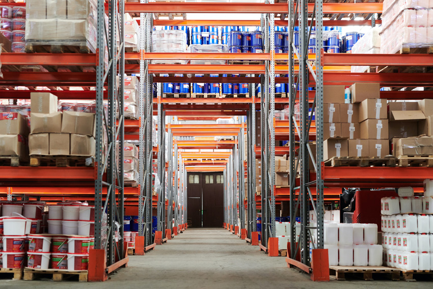 Orange Shelves in Warehouse Fulfillment Center